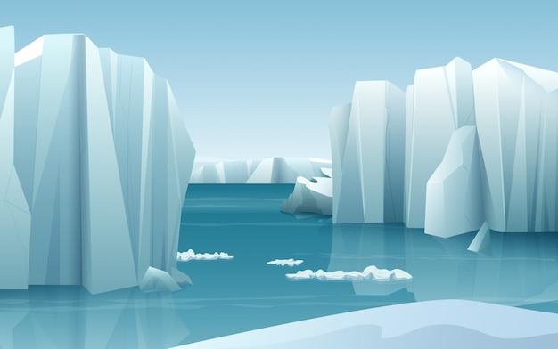 Krajobraz zimowy arktyczny lód