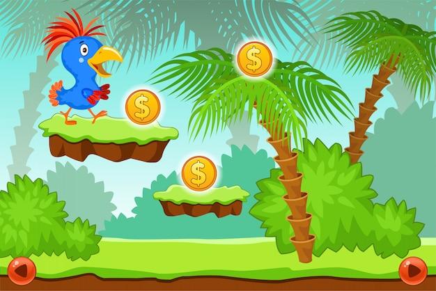 Krajobrazowa gra komputerowa z papugą.