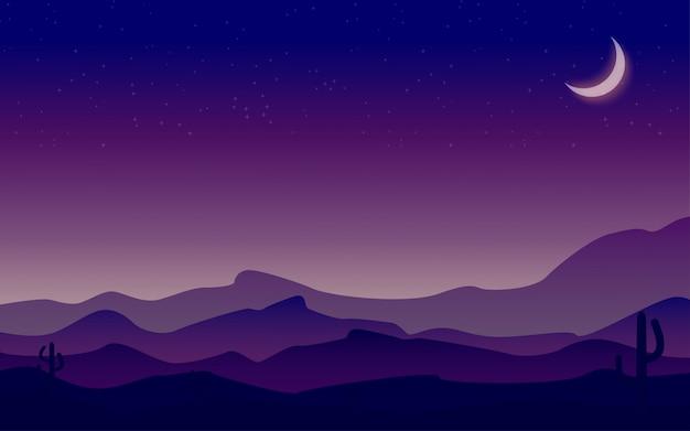 Krajobrazowa księżyc noc na tle halnego krajobrazu z pustynią i kaktusem