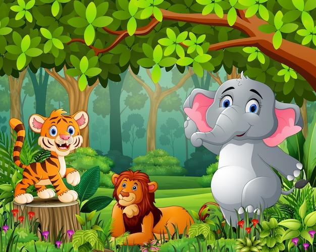 Krajobrazowa lasowa kreskówka zieleń z dzikim zwierzęciem