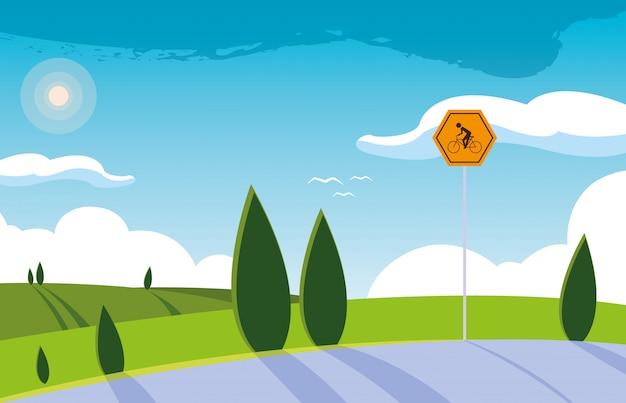 Krajobrazowa natury scena z signage dla cyklisty