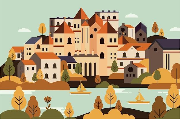 Krajobrazowa wieś jesienią
