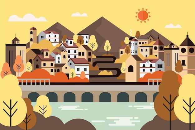 Krajobrazowa wieś podczas jesiennej ilustracji