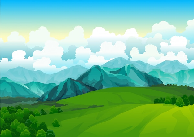 Krajobrazowe zielone łąki z górami. letni widok na dolinę. krajobrazowe pole wzgórza. trawa dzikiej przyrody i las w okolicy. lato wektor ziemia z wschodem słońca