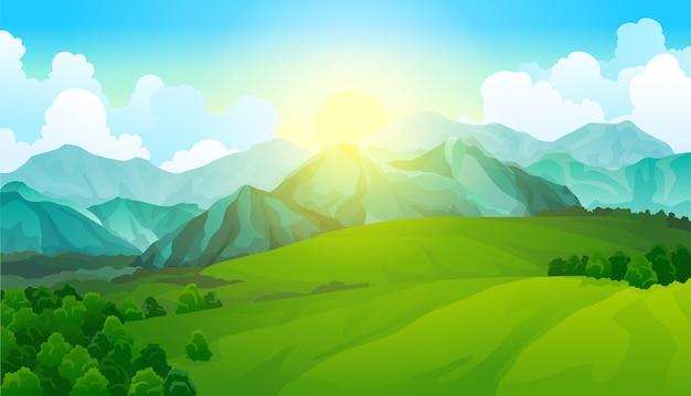 Krajobrazowe zielone łąki z górami. letni widok na dolinę.
