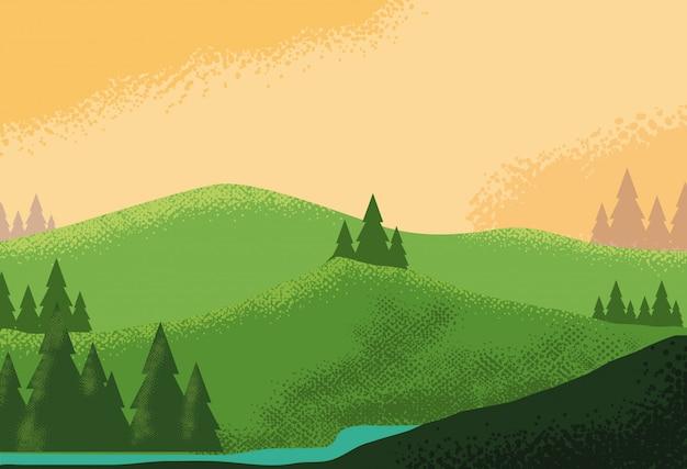 Krajobrazowy górzysty sceny natury tło