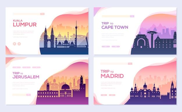 Krajobrazowy kraj malezja, afryka, hiszpania szablonu flyear, baner internetowy, nagłówek interfejsu użytkownika, wejdź na stronę.