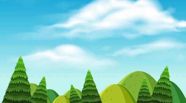 Krajobrazowy tło góry i drzewa