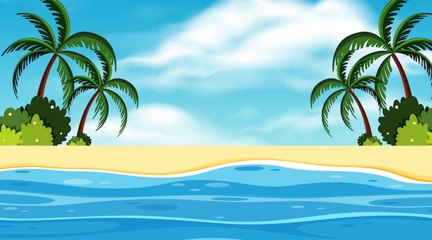 Krajobrazowy tło ocean przy dnia czasem