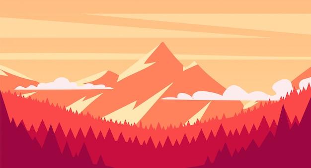 Krajobrazowy zmierzch w lesie z górami na tle, płaska ilustracja