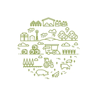 Krajobrazu wiejskiego i rolnictwa rolnictwa cienkie ikony linii