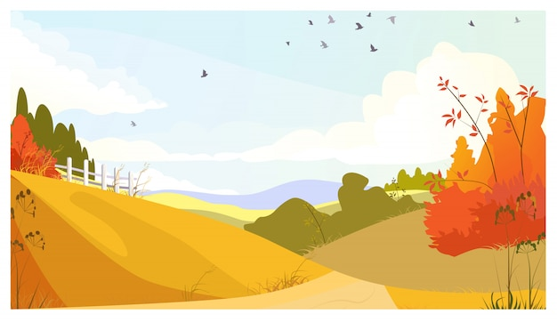 Krajobrazu wiejskiego z krzewami i łąkami