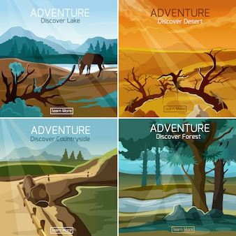 Krajobrazy podróżują 4 płaskie ikony kwadratowe