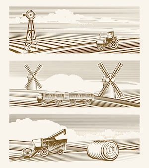Krajobrazy rolnicze. zestaw szkiców lub grawerowanie zbiorów z urządzeniami.