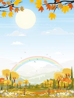 Krajobrazy wioski z kreskówek w połowie jesieni