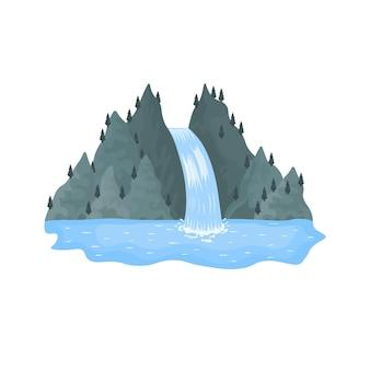 Krajobrazy z kreskówek z górami i drzewami malownicza atrakcja turystyczna z małym wodospadem