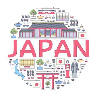 Krajowy przewodnik turystyczny po japonii obejmujący towary, miejsca i funkcje. zestaw architektury, mody, ludzi