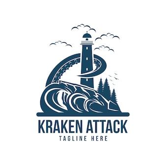Kraken attack light house vector illustration