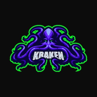 Kraken esport maskotka kreskówka szablon wektor logo