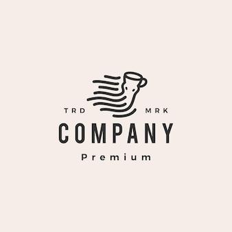 Kraken Ośmiornica Kawy Hipster Rocznika Logo Szablon Premium Wektorów