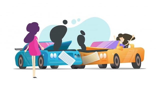 Kraksa samochodowa kolizja i dwa argumentującego wypadek kobiety lub pojazdu z ludźmi sceny i łamanej samochodu kreskówki płaska ilustracja