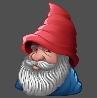 Krasnal z brodą i czerwonym kapeluszem