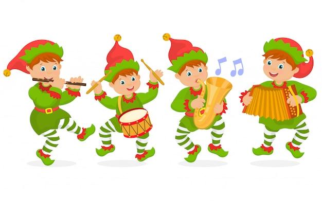 Krasnale grające świąteczną muzykę