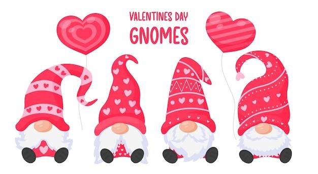Krasnale lub gnomy trzymają balony w różowym sercu. na walentynki