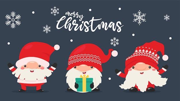 Krasnale w czerwonych sukienkach i kapeluszach świętują boże narodzenie w śnieżną zimę.