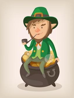 Krasnoludek siedzi na garnku z fajką złota.