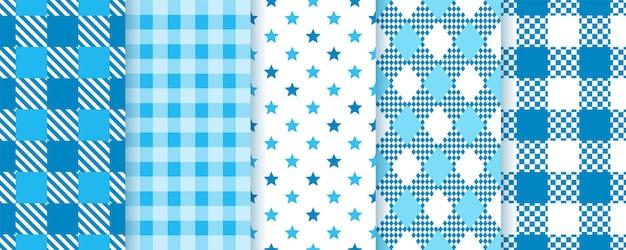 Kratkę bezszwowe wzory. niebieskie tekstury w kratę. oktoberfest w kratę.