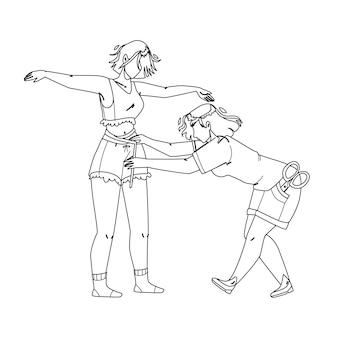 Krawcowa biorąc pomiaru ciała dziewczyna czarna linia rysunek ołówkiem wektor. krawcowa pomiaru rozmiaru młodej kobiety do szycia stylowych ubrań mody. postacie z kanalizacji dama i ilustracja klienta