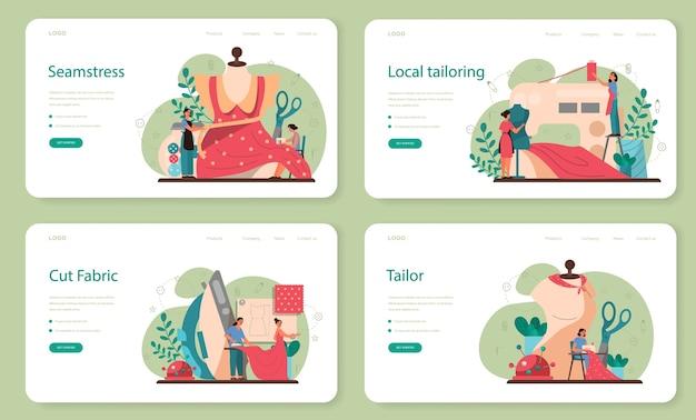 Krawcowa lub dostosowująca baner internetowy lub zestaw stron docelowych. profesjonalny mistrz szycia odzieży. kreatywny zawód atelier.