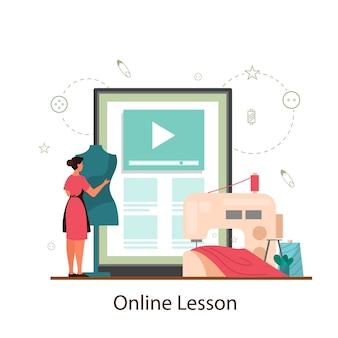 Krawcowa lub krawcowa platforma edukacyjna online. profesjonalny mistrz szycia odzieży. kreatywny zawód atelier.