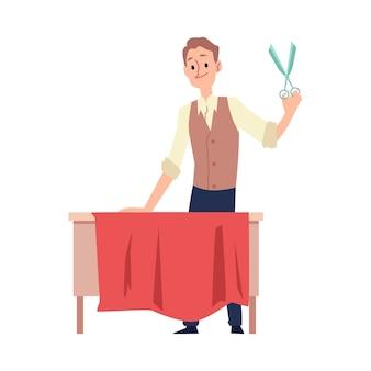 Krawcowa lub krawiec postać z kreskówki mężczyzna tnie tkaniny na odzież wektor ilustracja na białym tle. markowe szycie odzieży i indywidualne krawiectwo.