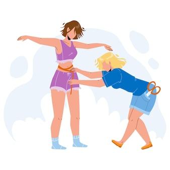 Krawcowa przy pomiarze wektor ciała dziewczyny. krawcowa pomiaru rozmiaru młodej kobiety do szycia stylowych ubrań mody. postacie z kanalizacji pani i klient ilustracja kreskówka płaska