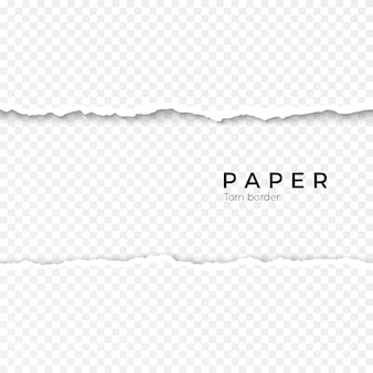 Krawędź pozioma bezszwowe rozdarty papier. szorstki złamany brzeg paska papieru. ilustracja na przezroczystym tle