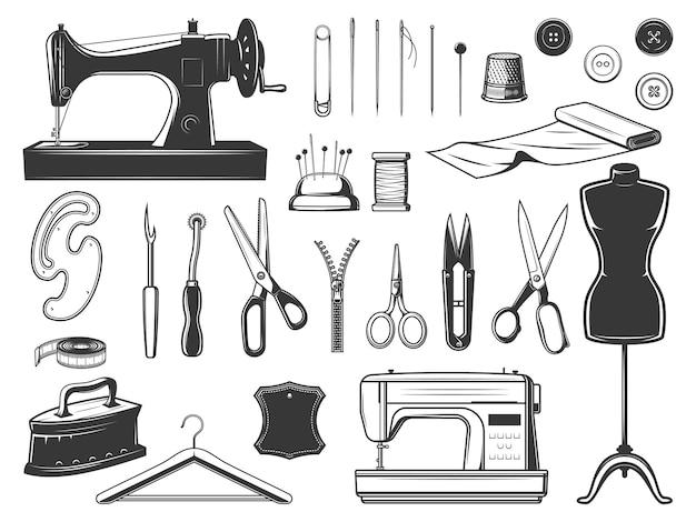 Krawiec i krawcowa narzędzia projekt ilustracji sprzętu do szycia
