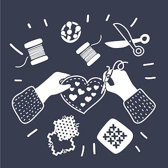 Krawiec krawcowa projektant mody lekcje robótek ręcznych zespół rąk