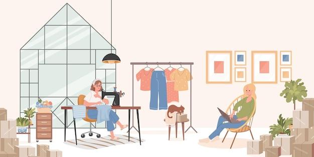 Krawiec lub krawcowa szyje ubrania na maszynie do szycia