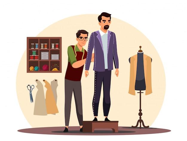 Krawiec pracujący nad kostiumem klienta w atelier shop