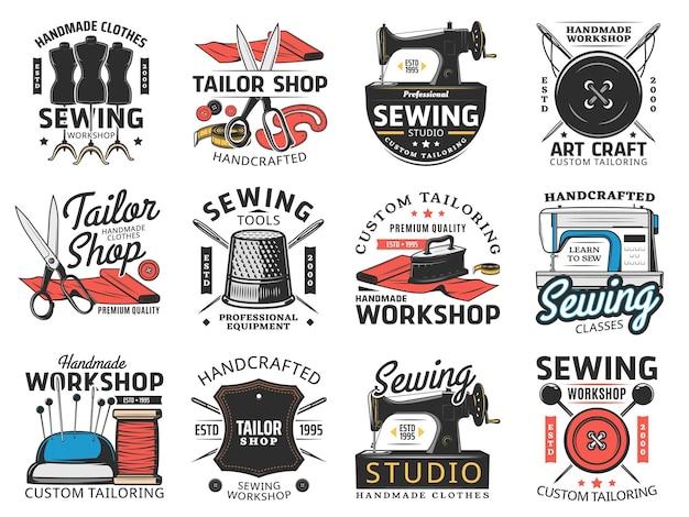 Krawiec sklep studio szycia i warsztat retro ikony ilustracja projekt