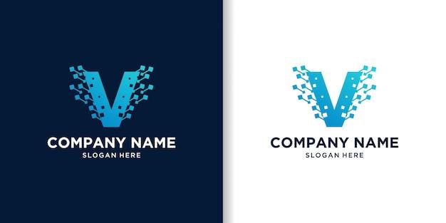 Kreacja projektowania logo technologii litery v.
