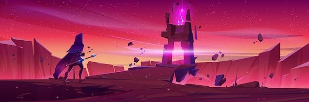 Kreator idzie do magicznego portalu w kamiennej ramie na górskim krajobrazie