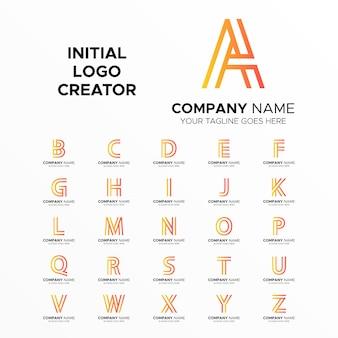 Kreator logo linii od a do z inicjały sztuki