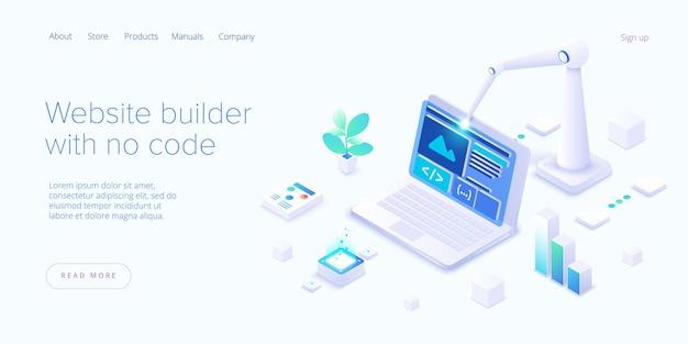 Kreator stron internetowych w projekcie izometrycznym. usługa tworzenia aplikacji internetowych oparta na chmurze.