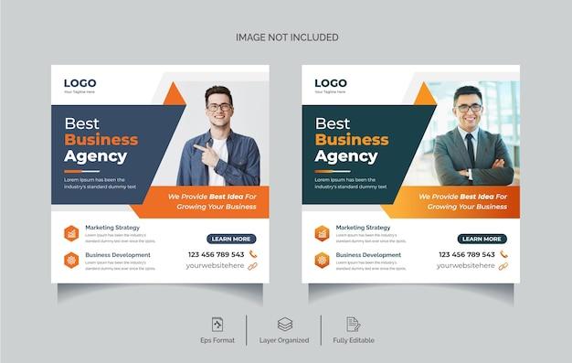 Kreatywna agencja biznesowa promocyjny post w mediach społecznościowych lub edytowalny szablon projektu banera internetowego premiu