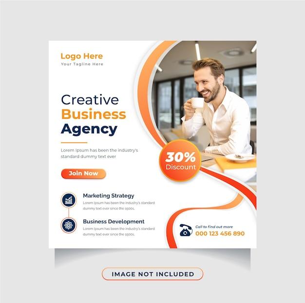 Kreatywna agencja biznesowa szablon projektu postu w mediach społecznościowych kwadratowa ulotka lub edytowalny baner internetowy