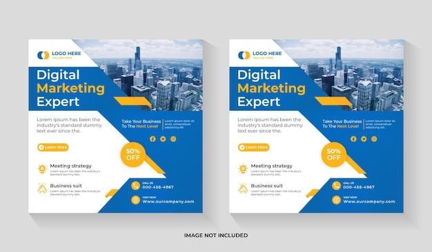 Kreatywna agencja biznesowa w mediach społecznościowych, kwadratowa ulotka i szablon