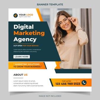 Kreatywna agencja marketingowa korporacyjne media społecznościowe instagram baner post szablon wektor projektu